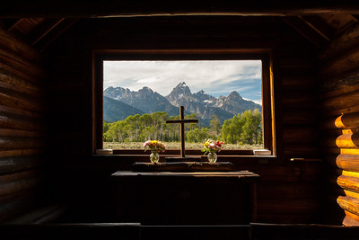 Teton Range Cathedral Group from Chapel of the Transfiguration, Menor's Ferry Historic District, Grand Teton National Park