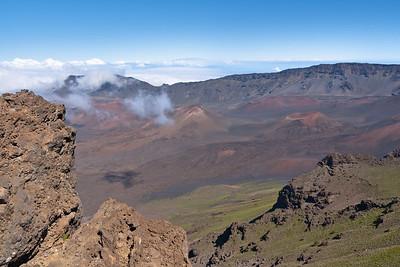 Haleakala Crater, Haleakala National Park. View all the way to Mauna Kea on the Big Island.