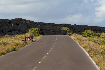 Chain of Craters Road covered with solidified lava