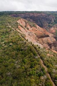 "Heli Tour over Kauai - Waimea Canyon, ""The Grand Canyon of the Pacific"". Waimea Canyon Drive (Highway 550) below will be waiting for us tomorrow :)"