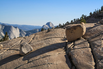 Glacial boulders & Half Dome from Olmsted Point, Yosemite National Park