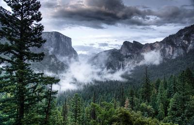 Distant view of Ribbon Fall at Yosemite National Park.