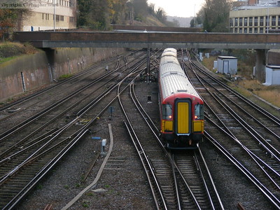 A Gatwick Express rattles over the points