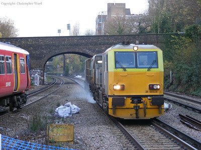 The trains cross at Putney