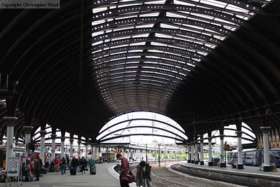 The main through platforms with the curved roof looking south