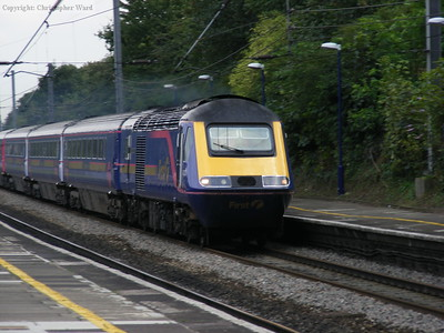 An HST speeds through