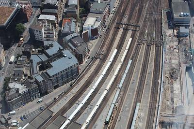 Three quarters of the third rail Electrostar fleet represented in one shot (L-R 376, 375, 377)