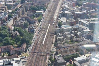 Southern and Southeastern trains approach London Bridge