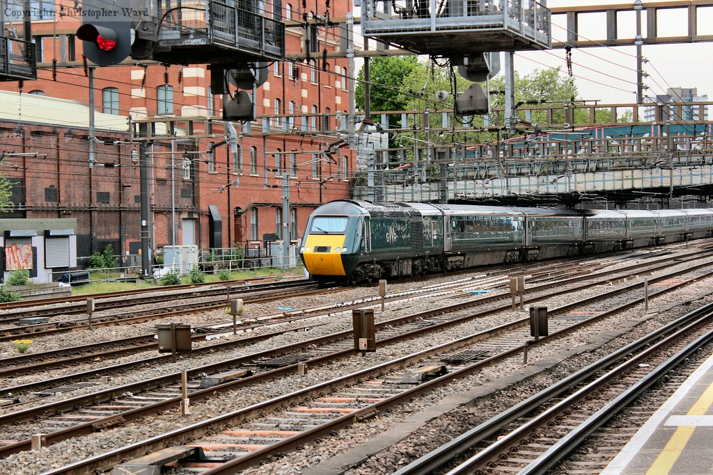 A GWR liveried HST arrives from the West Country