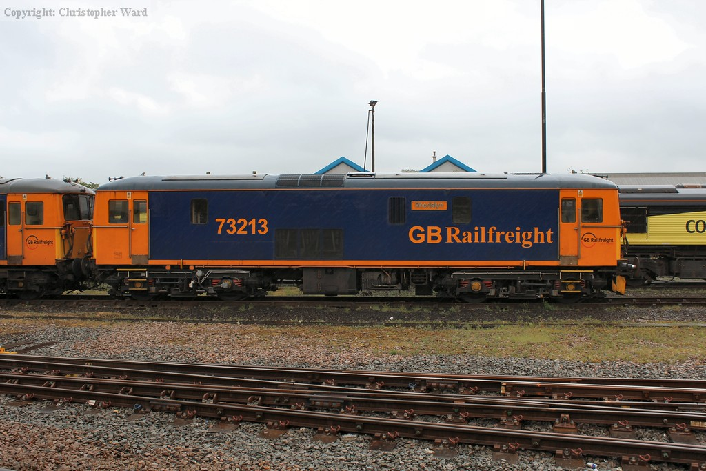 73213 sits in the yard at Eastleigh