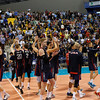 The US Men's National Team acknowledges the crowd of 5,200