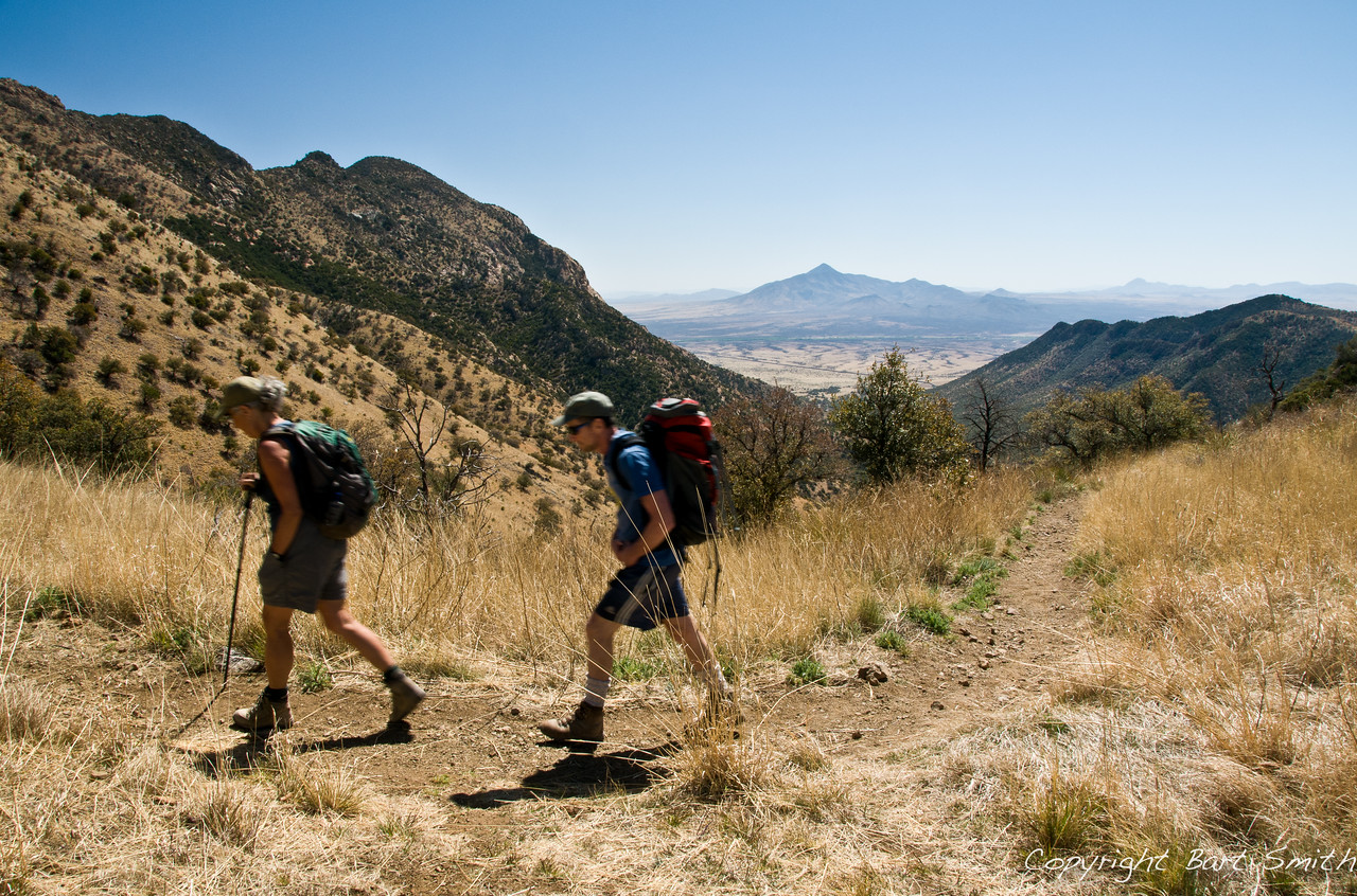 Hikers along Arizona Trail near Mexican Border.