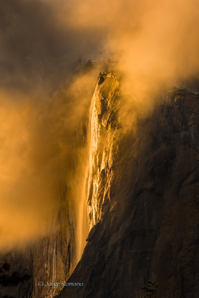Horsetail Fall also known as Firefall. This photo was taken before sunset in a brief opening of the clouds during a storm.