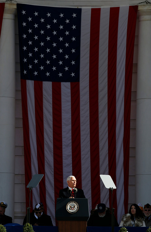 . Vice President Mike Pence speaks during a Veterans Day ceremony at Arlington National Cemetery, Saturday, Nov. 11, 2017 in Washington. (AP Photo/Alex Brandon)