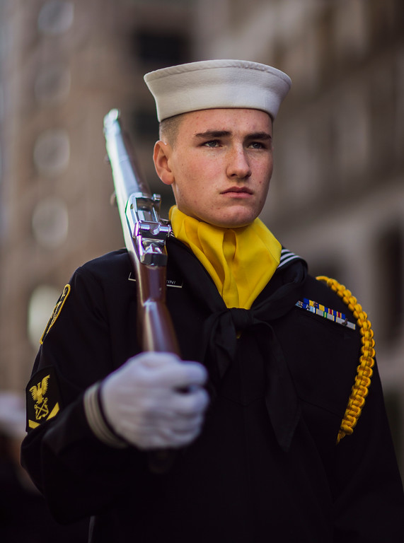 . A US Navy sea cadet marches during the annual Veterans Day parade in New York, Saturday, Nov. 11, 2017. (AP Photo/Andres Kudacki)