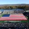 The American Flag is displayed during halftime of an NCAA college football game between Army and Duke honoring all that served in the armed forces on Veterans Day, Saturday, Nov. 11, 2017, in West Point, N.Y. (AP Photo/Hans Pennink)