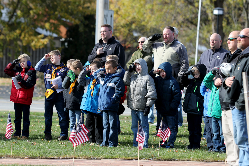 . Jonathan Tressler - The News-Herald <br> Members of Mentor Cub Scout Pack No. 306 salute the American Flag along with others in attendance during Mentor\'s Veterans Day ceremony Nov. 11 at the city\'s Veterans Memorial.