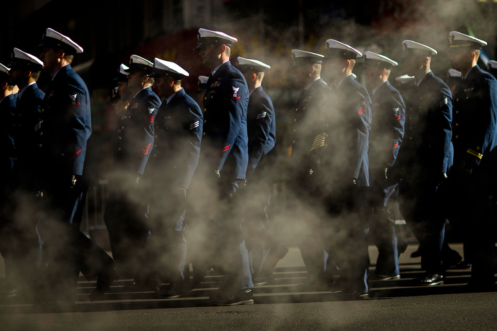 . U.S. Navy personnel march in the annual Veterans Day parade in New York, Saturday, Nov. 11, 2017. (AP Photo/Andres Kudacki)