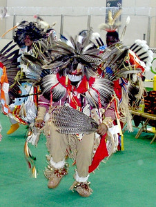 By federal law, eagle feathers may only be in the possesion of Native Americans. The eagle feather has religious and spiritual significance and the eagle dance may not be filmed when performed. This dancer displays many feathers in his costume. (This is not the eagle dance).