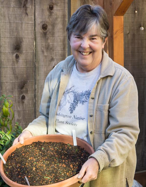 . Karen Laing, an enthusiastic California native plant gardener. Photo: Jackie Pascoe