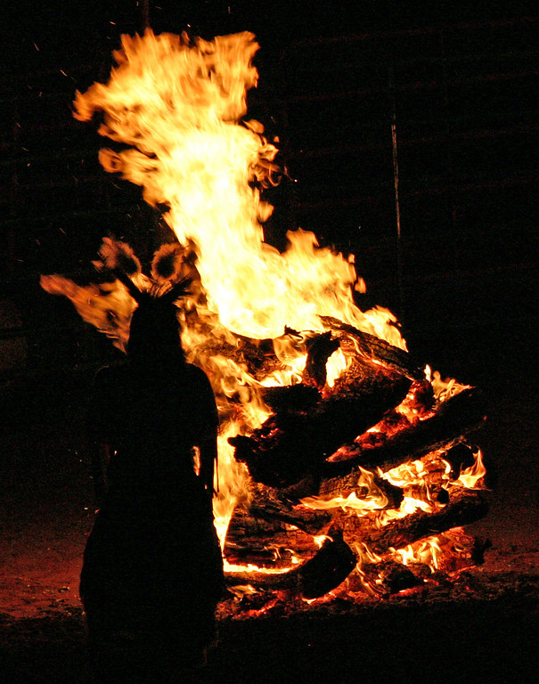 Bonfires are lit around the ceremonial grounds