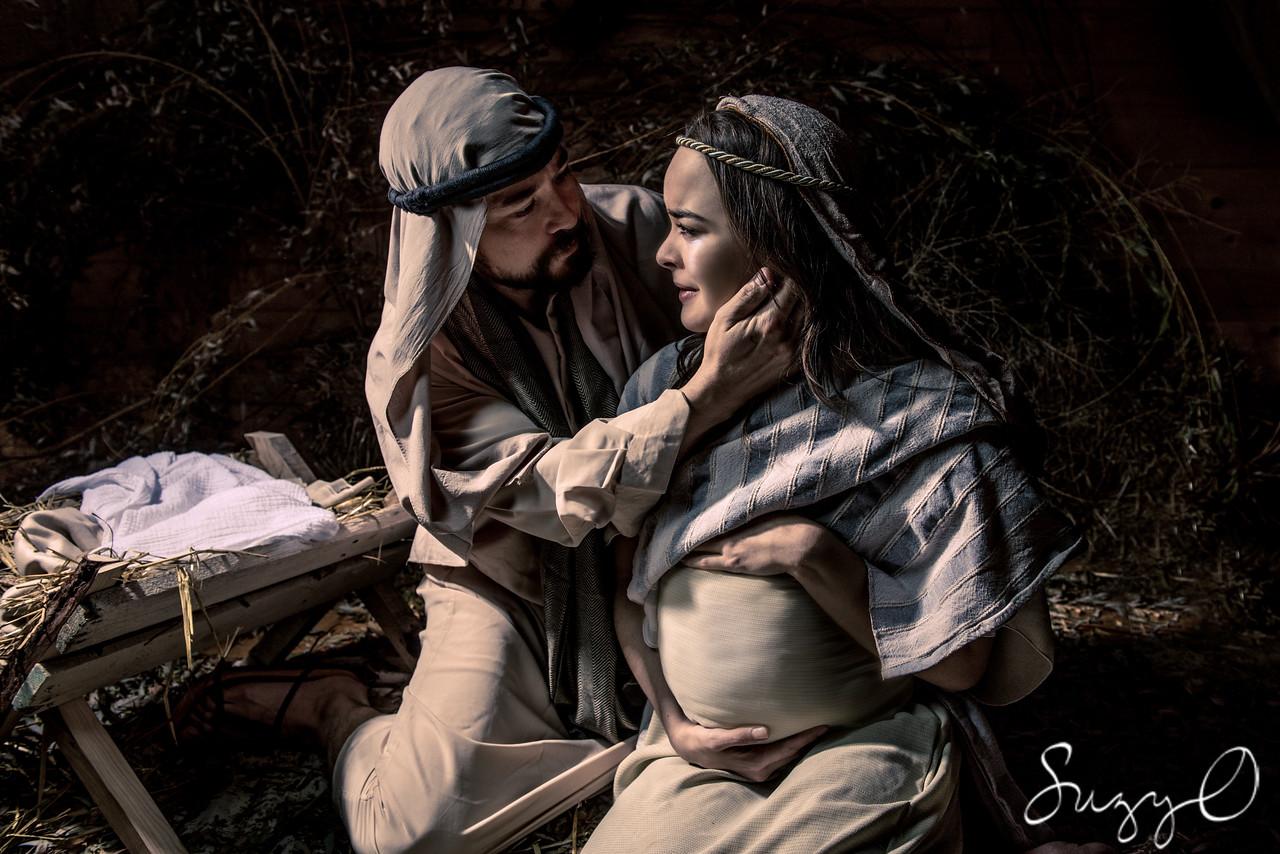Joseph comforts pregnant Mary