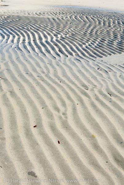 Lofoten, juni 2013. Mønster i sand. Trolig fjæra ved Flagstad.