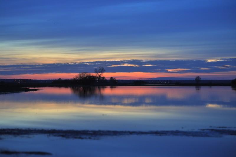 Rozlewiska Baryczy po zachodzie słońca