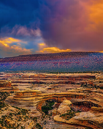 """Sunset Squall Line over Sipapu Bridge,"" Natural Bridges National Monument, Utah"