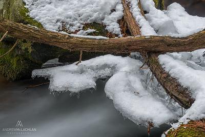 Skeleton Creek in winter at Hatchery Falls, Rosseau, Ontario, Canada