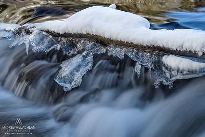 Winter River Details on the Skeleton River, Muskoka, Ontario, Canada