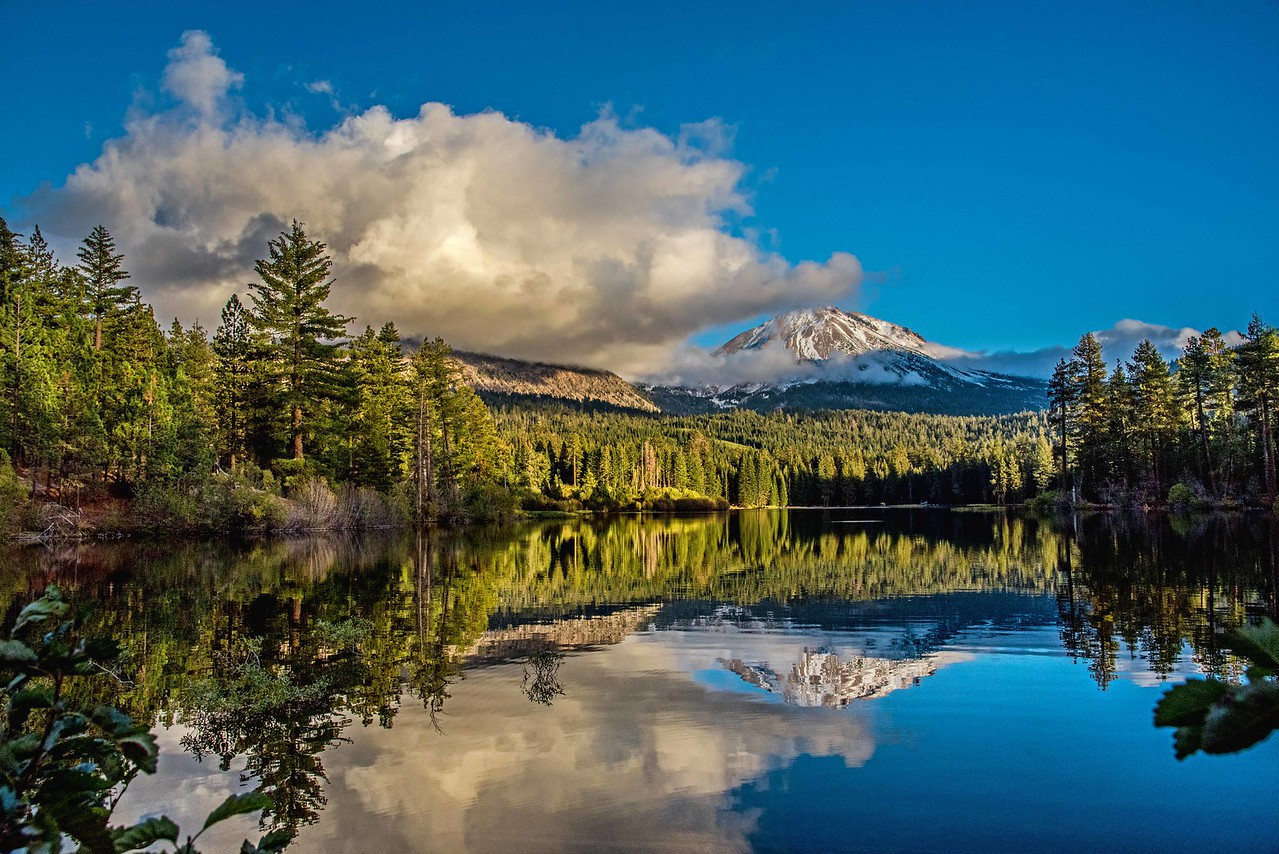 Lassen Peak Mirrored in Manzanita Lake