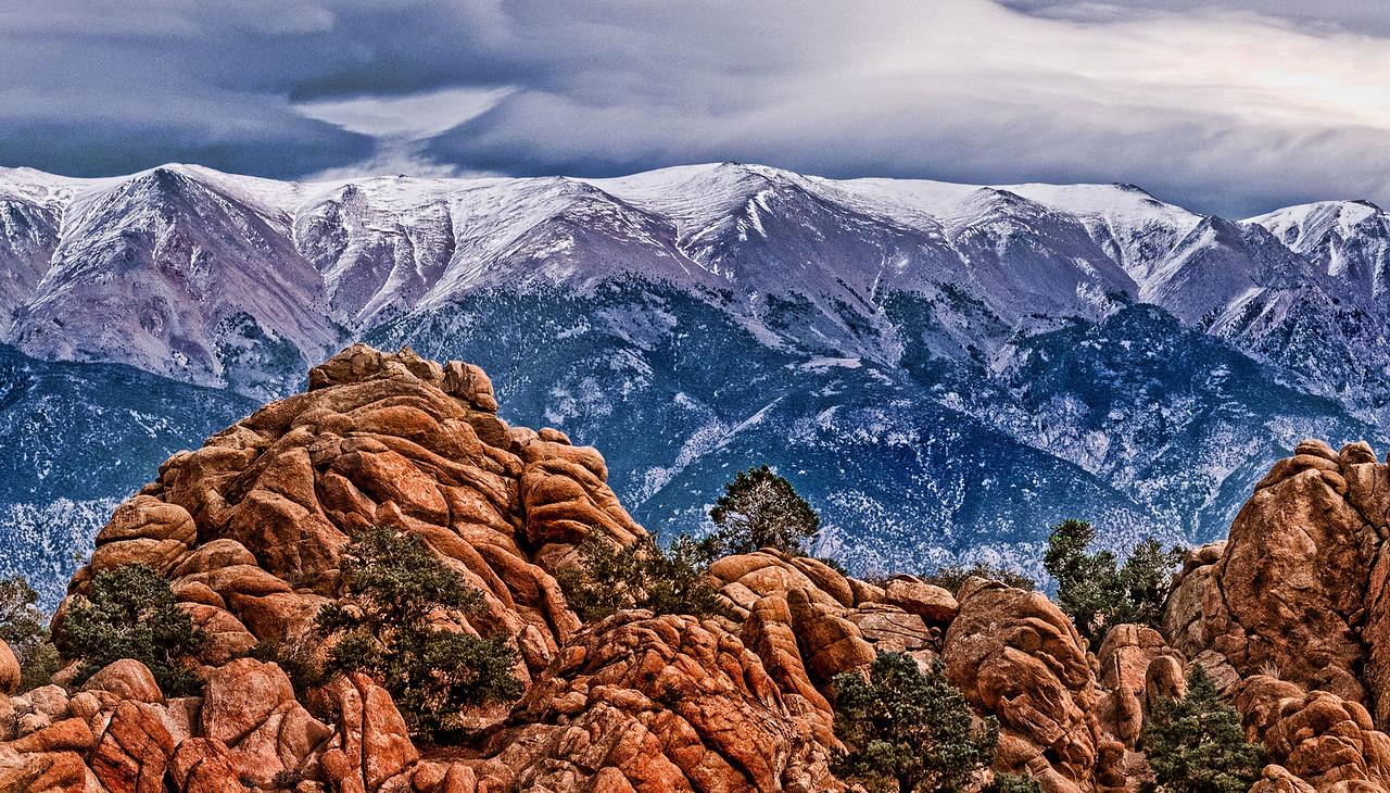Sandstone, Snow and Light - Nevada-California Boundary