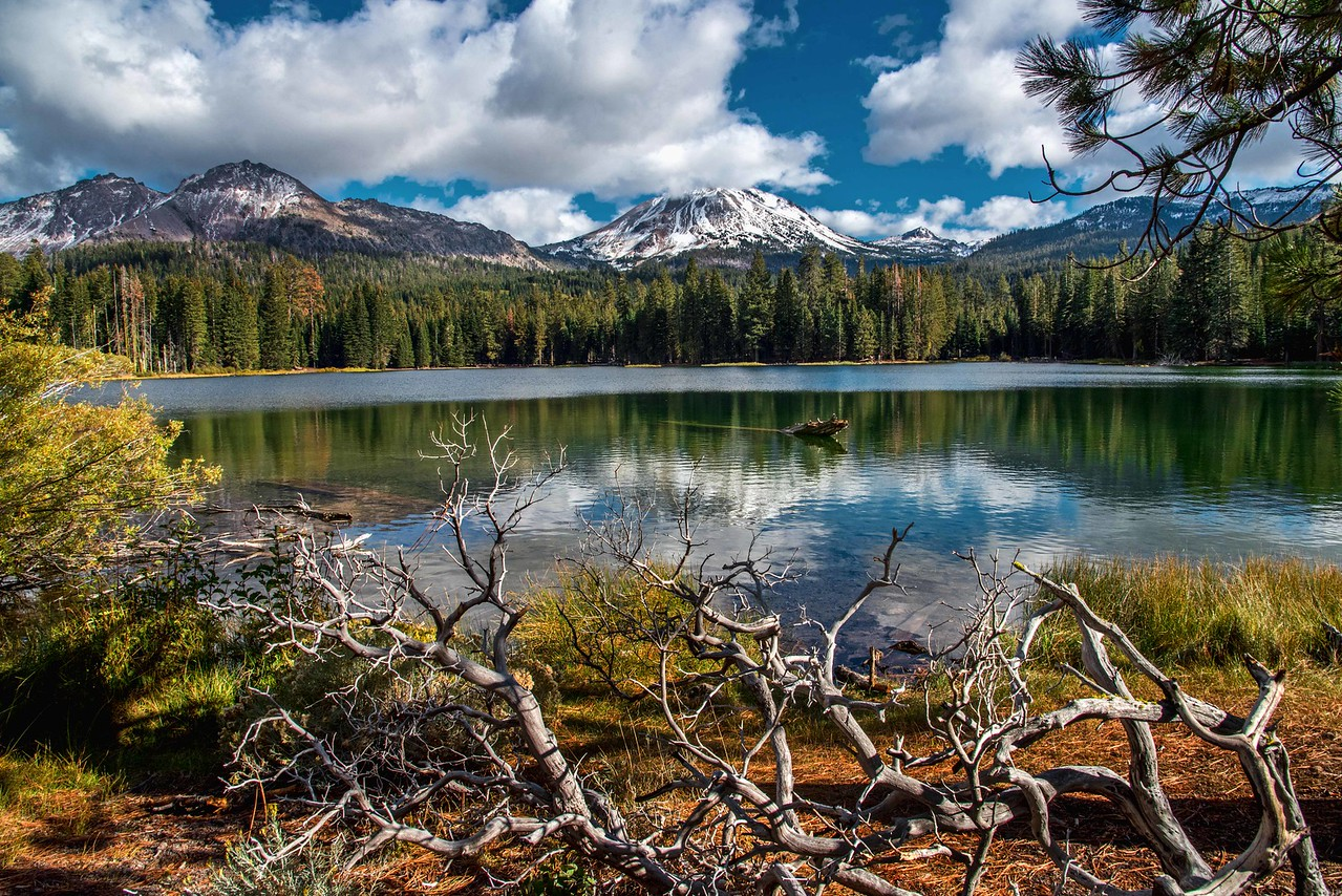 Chaos Crags and Lassen Peak embraced by Manzanita Lake