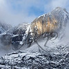 Yosemite National Park's Yosemite fall under snowfall