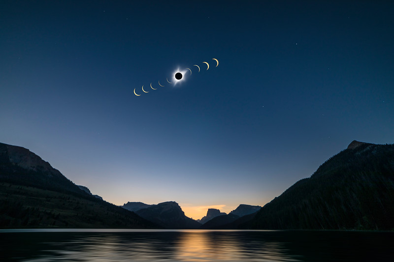 The great solar eclipse of Aug 2017 as seen from the head waters of the Green river in Wyoming.