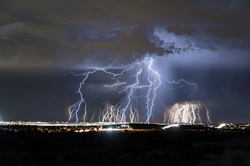 A massive electrical thunderstorm over Albuquerque, NM.