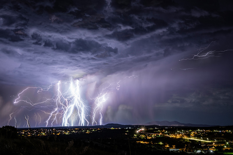 Lightning striking over Silver City, NM.