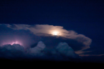 Full moon and lightning!