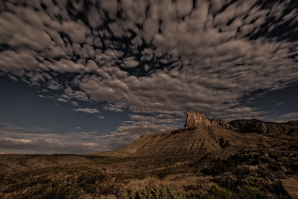 El Capitan at Guadalupe Mountains, west Texas. I took this photograph two nights ago, in the middle of the night. In fact, it was very dark but the light casting on the landscape is from the full moon. Click on the photo and you will be able to see the stars on the sky. <br /> Fuji X-Pro2 +10-24mm #fujifeed #fujixpro2 #igshotz #texas #nationalpark #igtexas