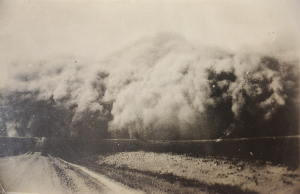A dust storm rolling across the Littlefield Farm in Swisher County, Texas in 1935. Photo taken at intersection of FM 1075 and 2301. Photo courtesy of Littlefield Family Album.