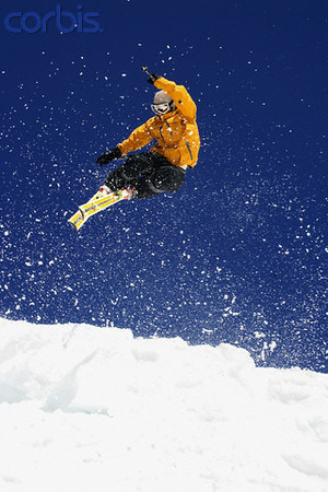 Skier Mid-air --- Image by © David Stoecklein/Corbis
