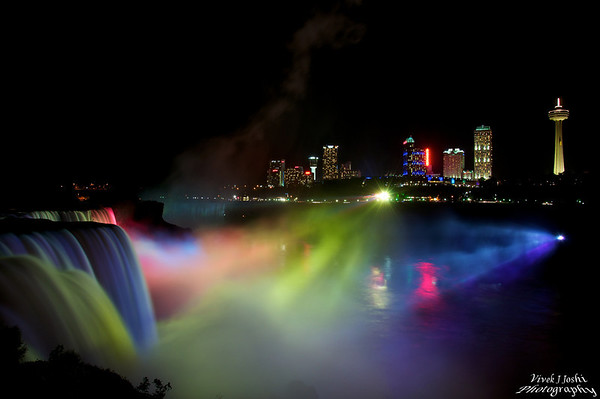 Night Illumination of Niagara Falls As Viewed From Prospect Point