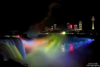Night Illumination of Niagara Falls As Viewed From Prospect Point