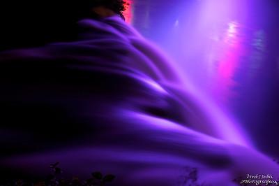 Night Illumination of Bridal Veil Falls