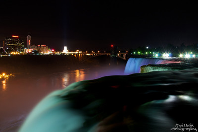 A Beautiful Night View Of Canada From Brink Of American Falls