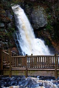 Dangerous Boardwalk Trail to Main Falls, Bushkill Falls