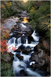 """Upstream"" As the sun lowered upstream, the first signs of Fall color began to emerge from the woods."