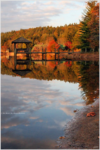 """""""The Gazebo"""" Fall afternoon in Cashiers, NC; elevation 3,484 ft.. A layer of high clouds and crisp, clear autumn air provided opportunity to capture this lakeside scene."""