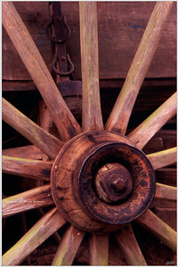 """""""Wood and Steel"""" In it's natural setting, near the old Cable Mill in Cades Cove N.P., this old wagon wheel still stands ready for another adventure through the gravel roads and hillside trails of the Great Smoky Mountains."""